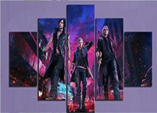 IGHFVJFG 5 Panels Modern Artwork Canvas Prints Abstract Pictures Game Devil May Cry -Size3Framed