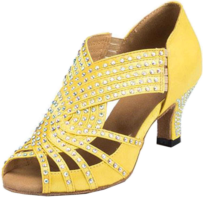 TDA Womens Fashion Slip-on Mid Heel Satin Crystals Latin Modern Salsa Tango Ballroom Wedding Dance shoes