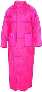 Malvina Girl's PVC Overcoat, Raincoat with Hidden Collar Pocket for Cap (Pink)