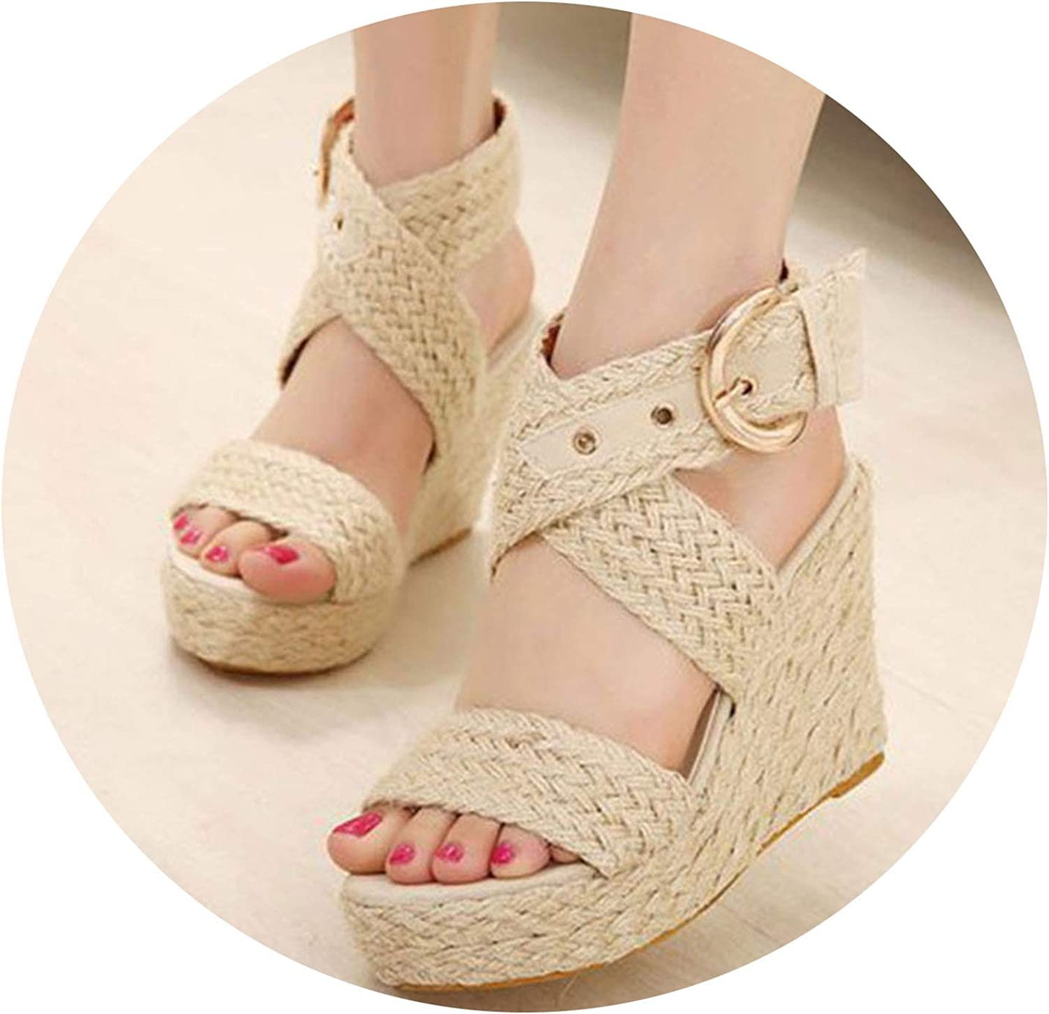 Summer Women Platform Wedges Sandals Hemp Stripe Flat Sandals Word Buckle Roman shoes Plus Size
