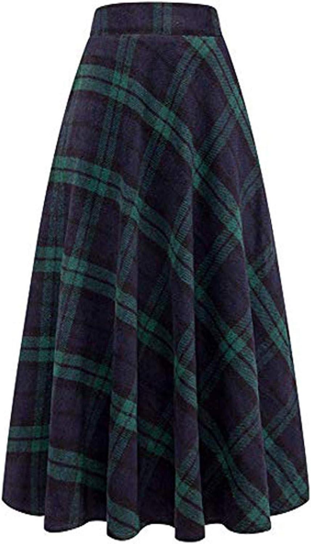 iCODOD Women Elastic Waist A Line Long Maxi Plaid Skirt Vintage Casual Fashion Lounge Pleated Skirt with Pockets