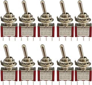 KINYOOO® 10 Piezas Mini Interruptor de Palanca, AC 125V 6A / 250V 2A ON-Off-ON 3 Pines 3 Posiciones SPDT Interruptor Rocker Switch de (Rojo)