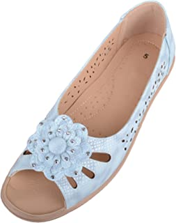Absolute Footwear Womens Slip On Summer/Holiday Peep Toe Sandals/Shoes with Floral Design