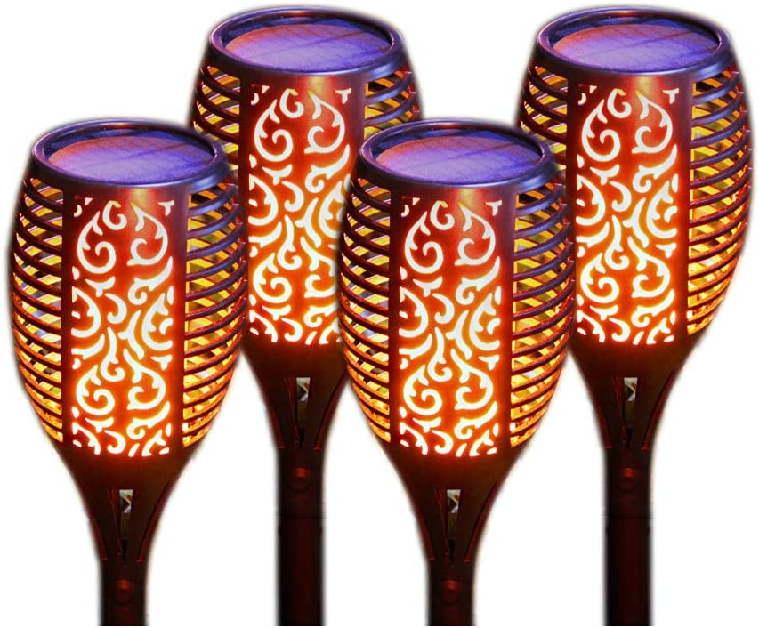 DSONGYEED Solar Lights Outdoor Waterproof Flickering Flames Torches Lights Outdoor Decoration Lighting Dusk to Dawn Auto On//Off Security Flame Lights 2 Pack 2