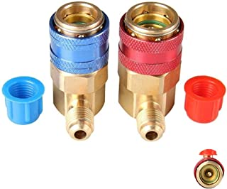 IROCH R134A Adapter,Air Conditioning Manifold Freon,R134A Quick Connectors,R134a System Port QC15 AC Quick Connector Adapter HVAC Coupler Car Auto Air-Conditioning