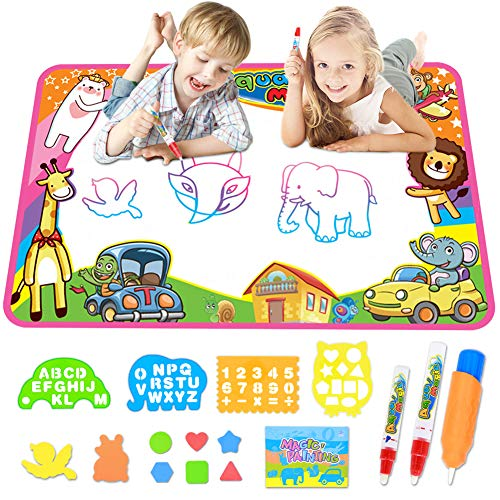 MOKOQI Magic Water Drawing Mat for Toddlers,Educational Toys for 1-8 Years Old Girls and Boys,Aqua Doodle Mat Painting Board Coloring Mats for Kids Ages 4-8 Birthday Gifts Portable Clay Board
