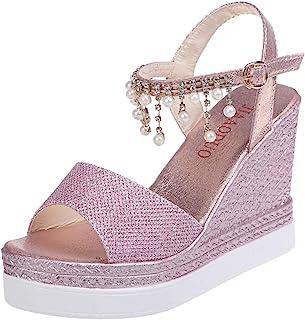 Sandales Femmes Mode Compensées Plateformes Cristal Perle Talons Hauts Chaussures