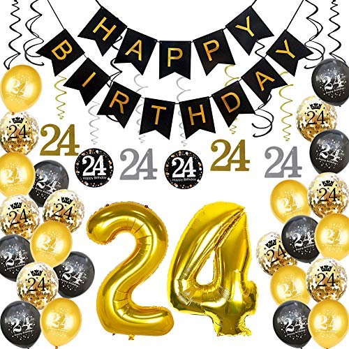 HankRobot 24th Birthday Decorations Party Supplies(42pack) Gold Number Balloon 24 Happy Birthday Banner Latex Balloons(Black, Golden) Confetti Balloons -Great for 24 Years Old Birthday Party