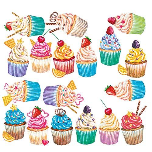 Sunnywall Wandtattoo Aufkleber Wandsticker Küche Genuss - 18 Cupcake Muffin Watercolor Motive