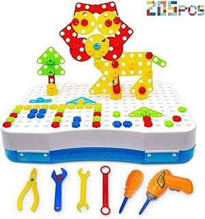 CHTOY 電動 ドリル ネジ 大工さん おもしろ 積み木 ツールボックス カラフル 組み立て セット 知育玩具 玩具収納 子供用 クリスマス 誕生日 プレゼント (205PCS)