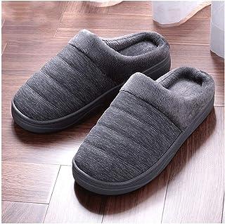 Semelle en caoutchouc talon en bois en cuir synthé Premium Durable Résistant Pantoufles for hommes Chaussures chaud fourré...
