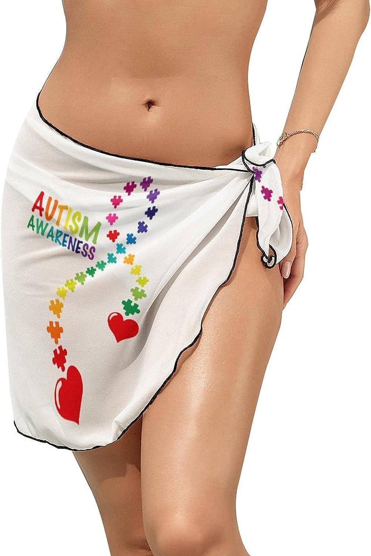 JINJUELS Women Beach Wrap Sarong Cover Up Autism Awareness Puzzle Ribbon Sexy Short Sheer Bikini Wraps
