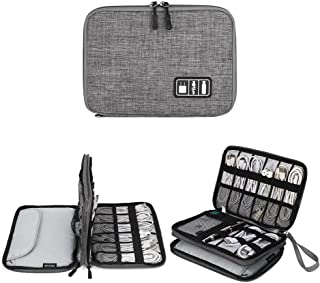 Electronics Organizer, Jelly Comb Electronic Accessories Cable Organizer Bag Waterproof Travel Cable Storage Bag for Charging Cable, Cellphone, Mini Tablet (Up to 7.9'') and More (Grey)