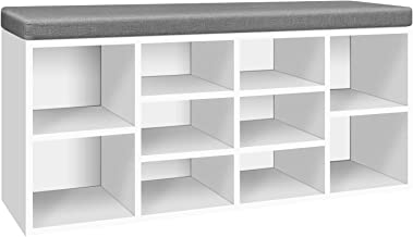 Artiss 10 Pairs Fabric Upholstered Shoe Bench, 102cm Length Wooden Storage Cabinet for Entryway Living Room, White