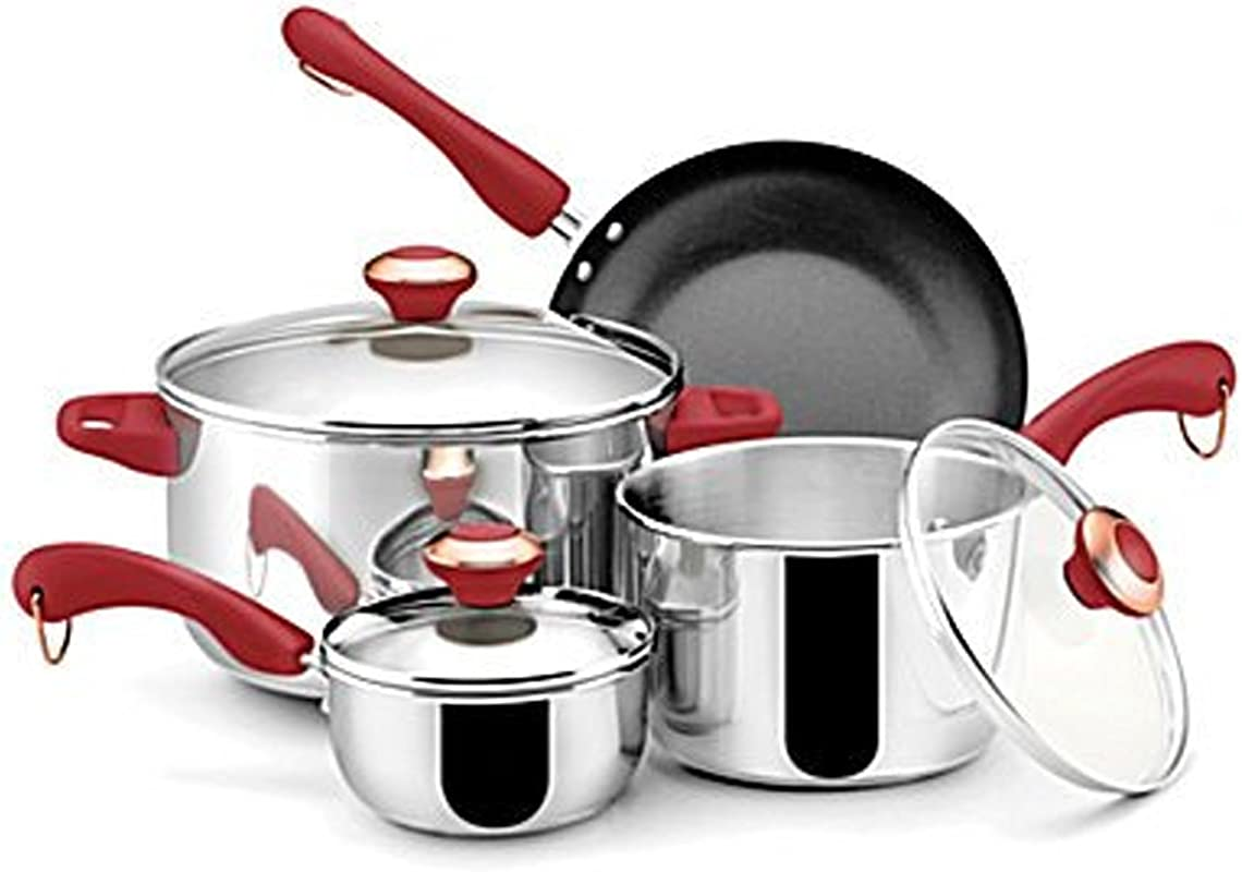 Paula Deen Stainless Steel Red Handle 7 Piece Cookware Set