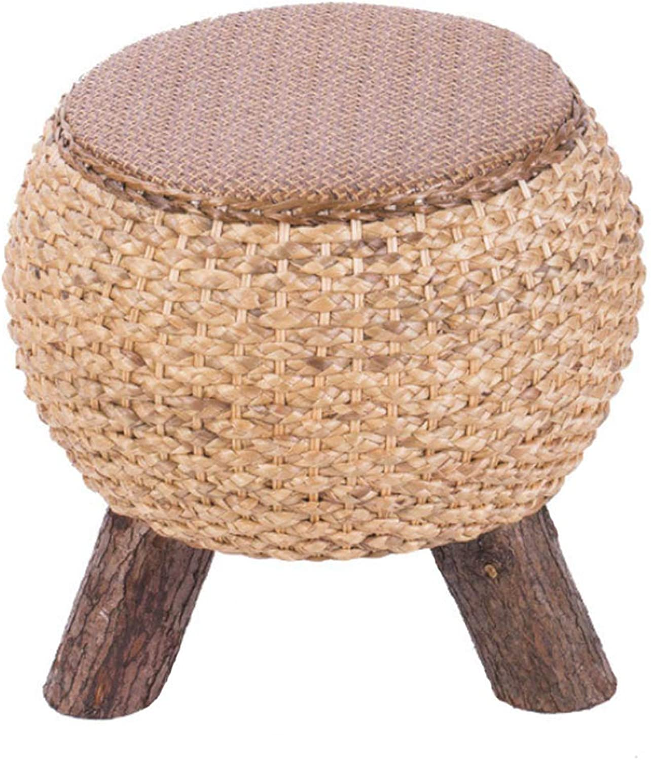 Round Seat Stool Rattan Footstool, Straw Coffee Table Stool Home Sofa Stool Fashion Ball Stool, Suitable for Living Room, Bedroom, Balcony (Dark Brown)