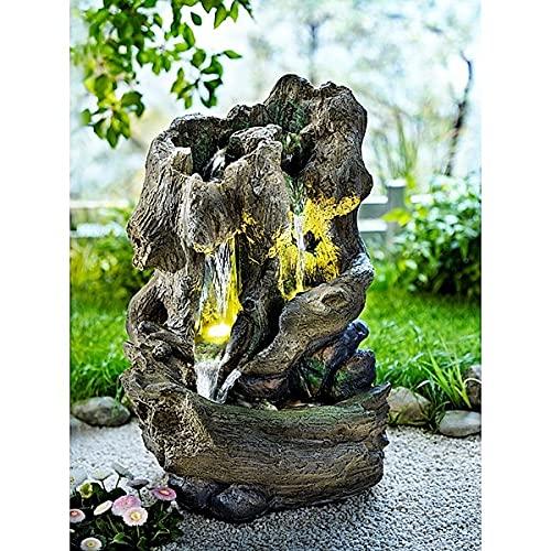 Gartenbrunnen Natur   illuminierter Brunnen im Look eines verwitterten Baumstumpfs   geschlossener Wasserkreislauf unf integrierte Wasserpumpe   Höhe 59 cm