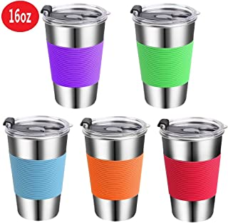 Stainless Steel Kids Cups with Lids,Vermida 5 Pack 16oz Metal Kids Drinking Cups with Lids,Spill Proof Kids Drinking Tumblers with Lids,Unbreakable Drinking Mugs for Kids and Toddlers