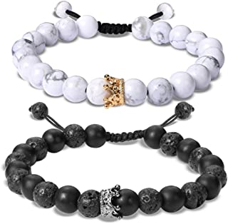 Couple Distance Bracelet Diffuser Beads Crown Queen Bracelets Matte Agate & White Howlite Lava Stone