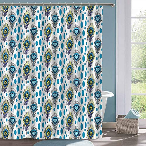 Colorful Shower Curtain Peacock Spots and Feathers Hippie Home Decor Shower Curtain W55 xL72