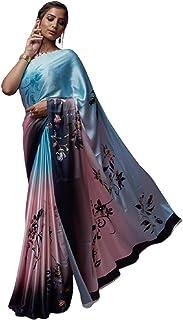 lake blue Indian Designer Digital Print Sari Soft Satin Crepe Shiny Formal Cocktail Saree Blouse 6078