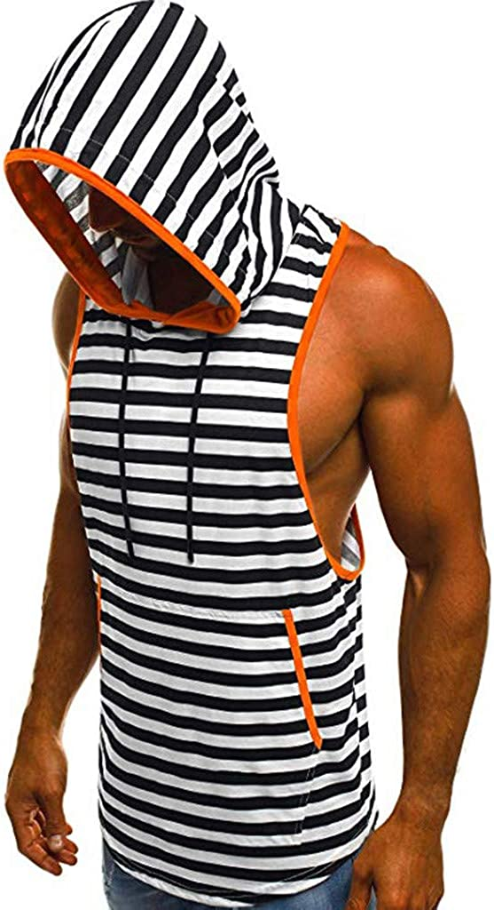 VEKDONE Men's Casual Hoodies Workout Tank Tops Fashion Sleeveless Muscle Cut Out Loose Tops T-Shirt