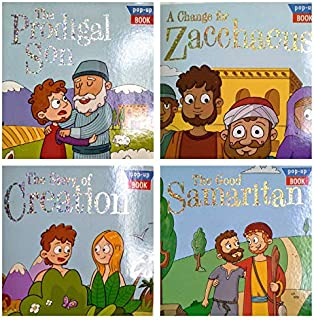 The Story of Creation, Prodigal Son, Good Samaritan, and Zacchaeus Pop Up Books - Set of 4