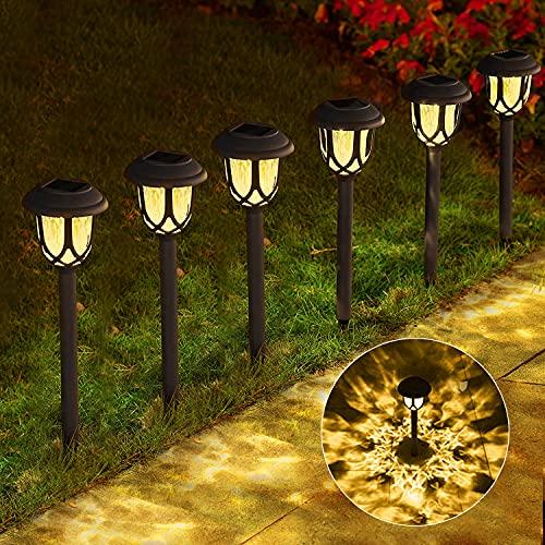 Solar Lights Outdoor Path, Solar Path Lights, Solar Powered Garden Courtyard Lights for Sidewalk Driveway, 20-25 lumens (Warm White 6-Pack)