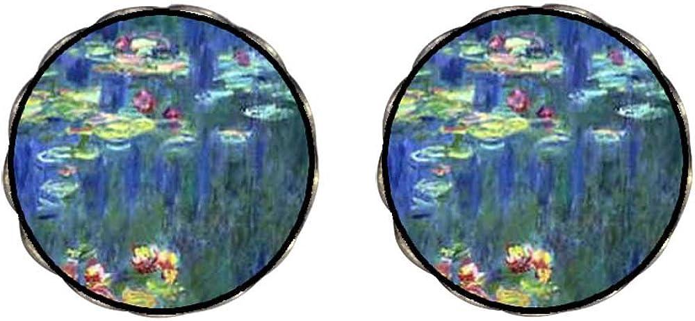 GiftJewelryShop Bronze Retro Style Monet Water Lilies Photo Clip On Earrings Flower Earrings #12