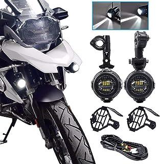 KKmoon 2pcs LED Faro de Motocicleta Luz Auxiliar Moto Protectores de Luz Antiniebla con Arnés de Cableado para R1200GS F800GS