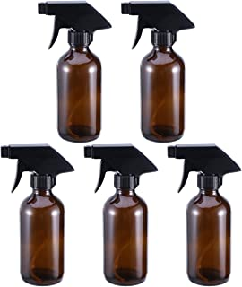 Hemobllo 5pcs Amber Glass Spray Bottles Empty Boston Round Bottles Refillable Container Bottles for Essential Oils Cleanin...