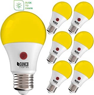Sunco Lighting A19 LED Bulb,Yellow Bug Light, 9W, Auto On/Off, Dusk-to-Dawn Photocell Sensor, Bug Repellent/Bug Free, 2000K Amber Glow, Damp Location Patio, Deck, Backyard, Porch - 6 Pack