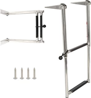 DasMarine 2 Step Ladder 316 Stainless Steel Telescoping Ladder, 900 Pound Capacity for Marine Yacht/Swimming Pool with Retaining Strap (2 Step Ladder)