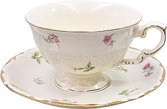 طقم فنجان قهوة وشاي مطبوع عليه زهور من زيلاكس، لون كريمي