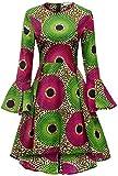 Shenbolen Women African Print Dresses Autumn and Winter Long Sleeves Ankara Dress(Large,Multicolored)