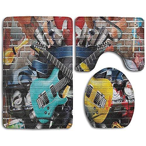 HooYa Bad Teppiche Sets 3 Stück Gitarre gra-ffiti Musik Street Wall Art Badematten Sets Teppiche für Badezimmer U-förmige Kontur Teppich Matte