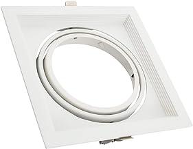 LEDKIA LIGHTING Aro Downlight Cuadrado Basculante Aluminio para Bombilla LED AR111 Blanco