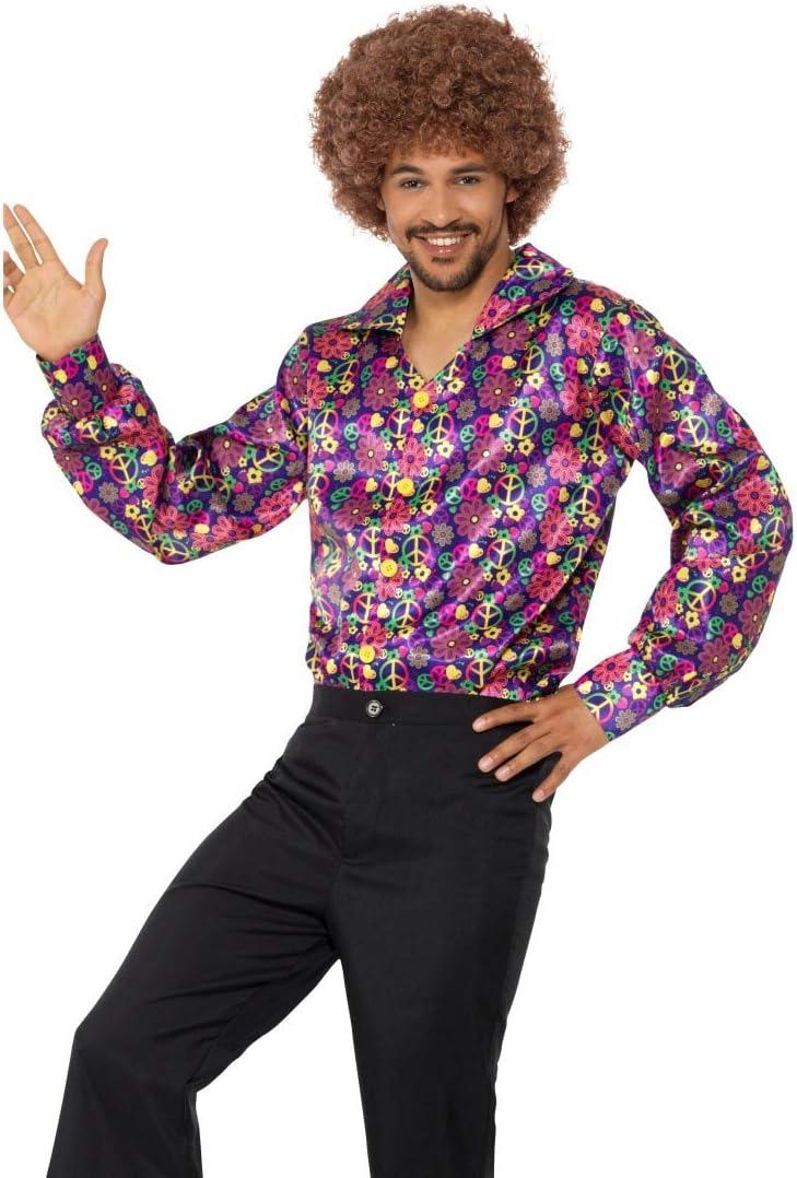 NET TOYS Colorida Camisa Hippie con símbolos de Paz | En Talla L (ES 52/54) | Extravagante Atuendo años 60 y 70 Camisa para Hombre | Ideal para ...