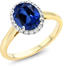 Gem Stone King 10K 2-Tone Gold Oval Simulated Sapphire and Diamond Halo Engagement Ring 2.30 Ct (Available 5,6,7,8,9)