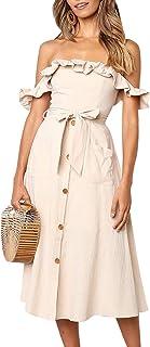 Yieune Sommerkleider Damen Blumen Maxi Kleid Off Shoulder Abendkleid Strandkleid Party Schulter Kleider