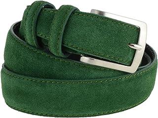 La Bottega del Calzolaio Cintura in pelle uomo camoscio classica verde artigianale made in italy