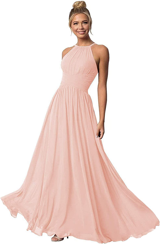 Clothfun Women's Halter Bridesmaid Dresses Long Chiffon Formal Dresses Evening Party Dress 2021