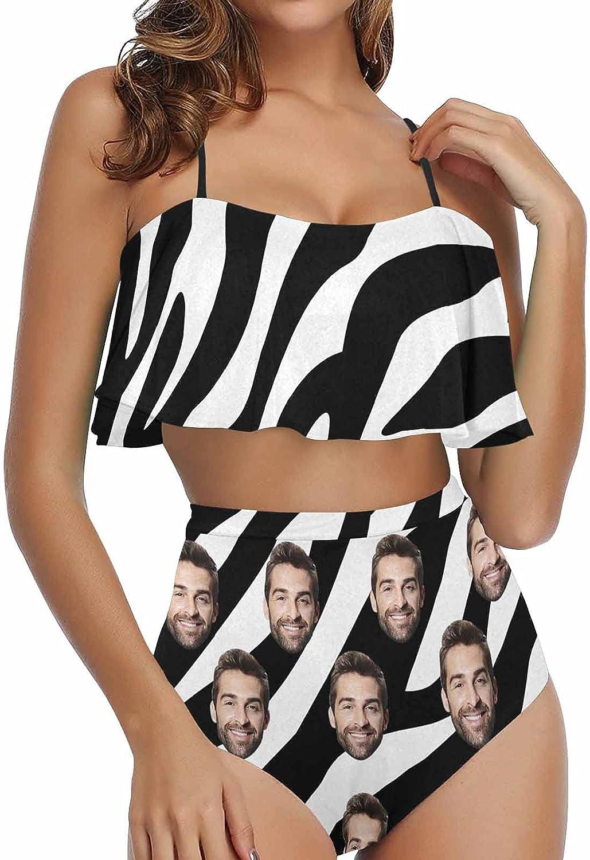 Custom Face Bikini Set Very popular High Sale price Swimsuit fo Waisted Swimwear Flounce