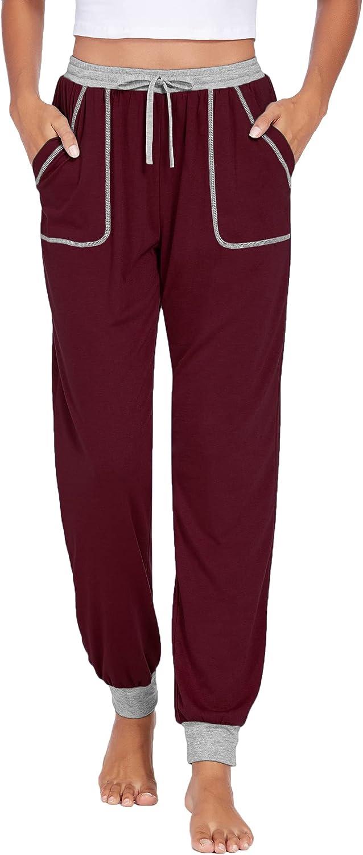 Ekouaer Women's Pajama Pants Adjustable Drawstring Joggers Sweatpants Loose Lounge Pants Sleepwear Bottom with Pockets S-XXL