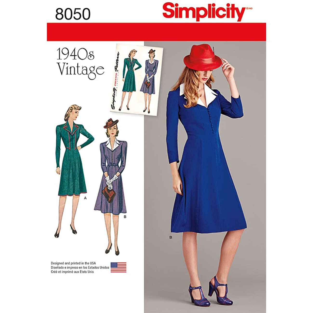 Simplicity 8050 1940's Vintage Fashion Women's Collared Dress Sewing Pattern, Sizes 6-14