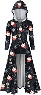 Onefa Plus Size Blouse for Womens Christmas Print Long Sleeve Hooded Pullover Vintage Cloak High Low Tops Blouse