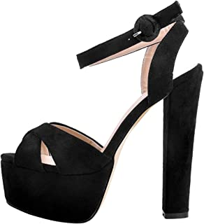 Onlymaker Womens Platform Chuncky High Heel Sandals Ankle Strap Open Toe Cross Band Party Dress Casual Shoes