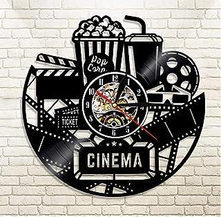 Reloj de pared de vinilo Cinema Vinyl Record Reloj de pared Reloj de diseño moderno Película de cine Reloj de pared Reloj de tiempo Coca-Cola de palomitas de maíz para regalo de amante de la película
