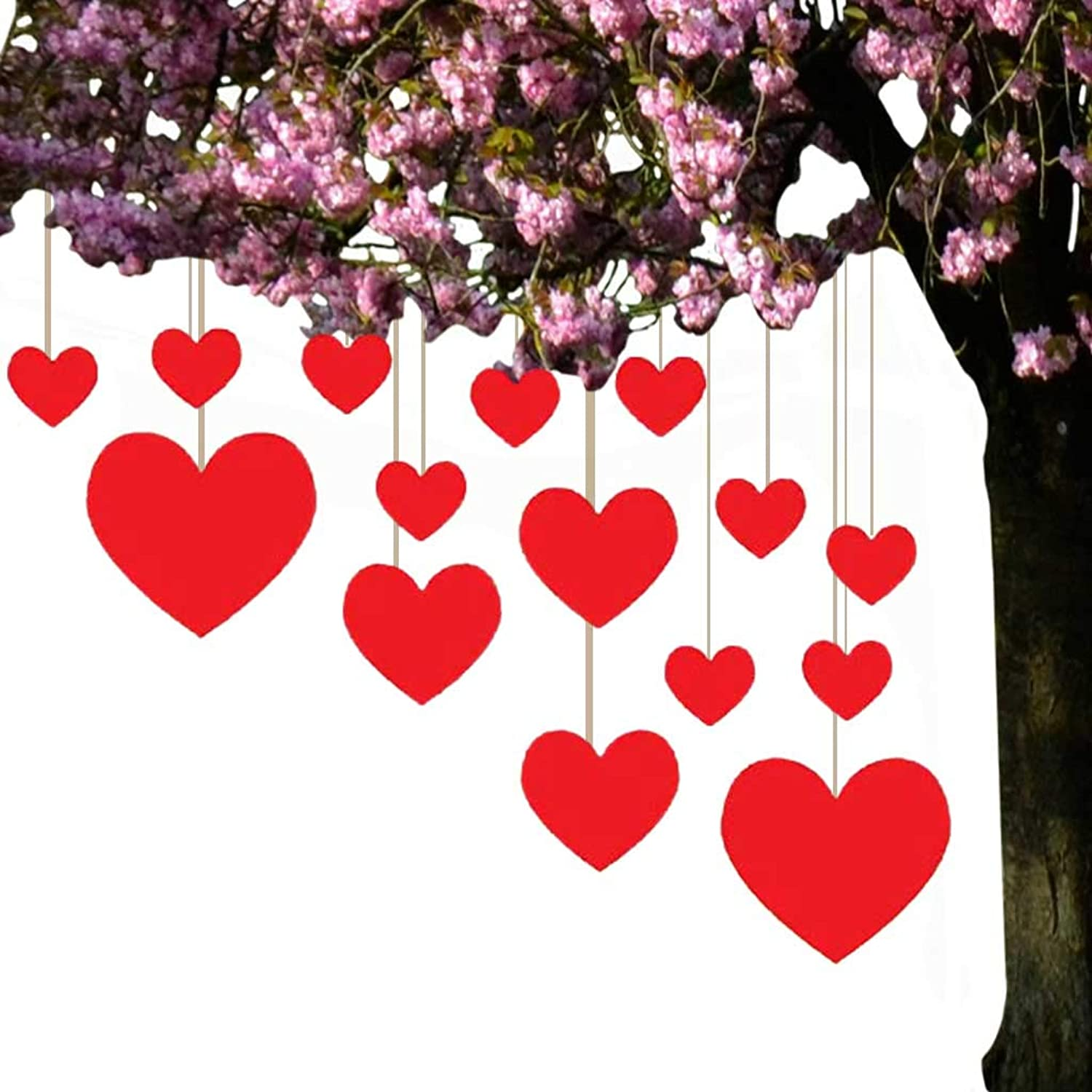 Valentine's Lawn Decorations - Hanging Hearts (Set of 15)