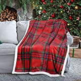 Red Buffalo Plaid Christmas Blanket Sherpa Throw 50' x 60', Super Soft Warm Comfy Mink Fleece Bedding Couch Blankets